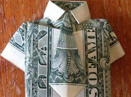 Рубашка с галстуком из долларовой купюры