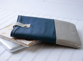 Чехол для макбука из ткани и кожи