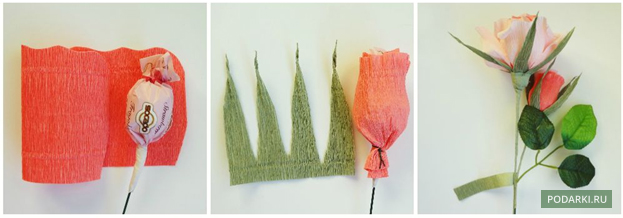 Сделать розу из гофрированной бумаги своими руками видео