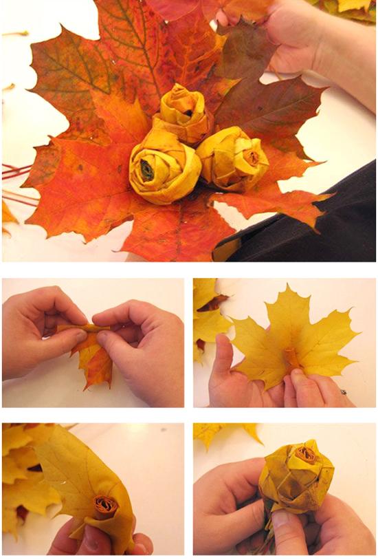 Как сделать своими руками цветы из кленовых листьев своими руками фото 717