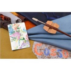 Горизонтальный кардхолдер-книжка из кожи Сиреневые цветы