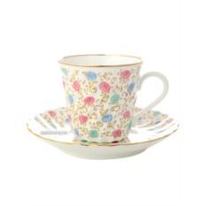 Фарфоровая чашка с кофейным блюдцем Хризантема