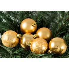Набор ёлочных шаров золотого цвета