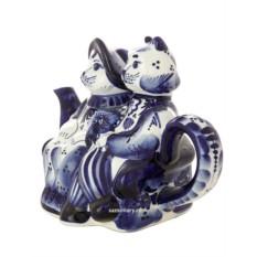 Заварочный керамический чайник с росписью Гжель. Котики