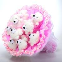 Букет из игрушек Мишки в розовом