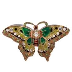 Шкатулка Бабочка (цвет: зеленый с золотым)