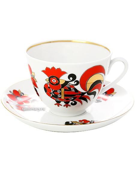 Фарфоровые чашка с блюдцем Красные петушки