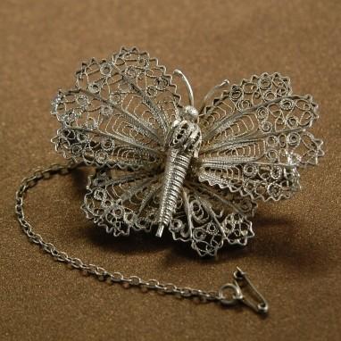 Брошь «Большая бабочка» со страховочной цепочкой