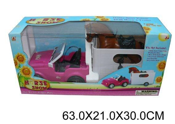 Машина для куклы с прицепом и лошадью