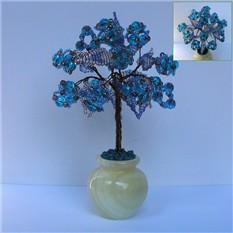 Дерево любви из топаза в вазочке из оникса