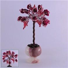 Миниатюрное дерево счастья из коралла в вазочке из оникса