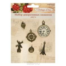 Набор декоративных элементов Vintage Line Часы, 6 шт.