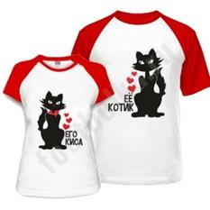 Парные футболки Ее котик / Его киса, комбинированные