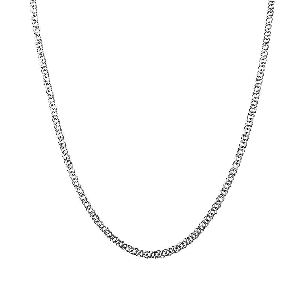 Серебряная цепь с плетением Двойной ромб