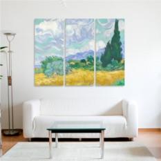 Модульная картина Ван Гог. Пшеничное поле с кипарисами