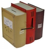 Часы-копилка «Книги», бежевый-красный-бордо