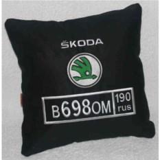 Черная подушка с номером Skoda