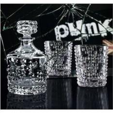 Хрустальный набор из 2 стаканов и декантера Punk