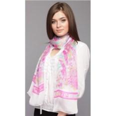 Бело-розовый женский палантин Leonard