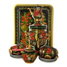 Набор с самоваром и чайным сервизом Хохлома класическая