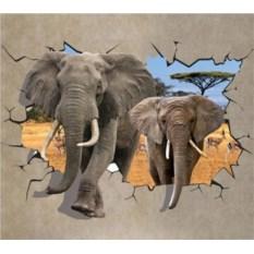 Виниловая 3D наклейка Слоны