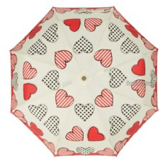 Складной зонт с сердечками Moschino Big Hearts Beig