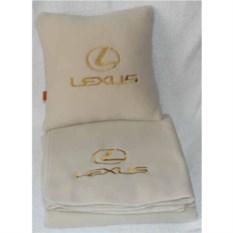 Бежевый плед с золотой вышивкой Lexus