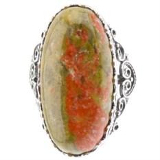 Кольцо из мельхиора в посеребрении с зелёной яшмой Кружево
