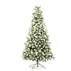 Искусственная заснеженная елка с шишками Русская красавица