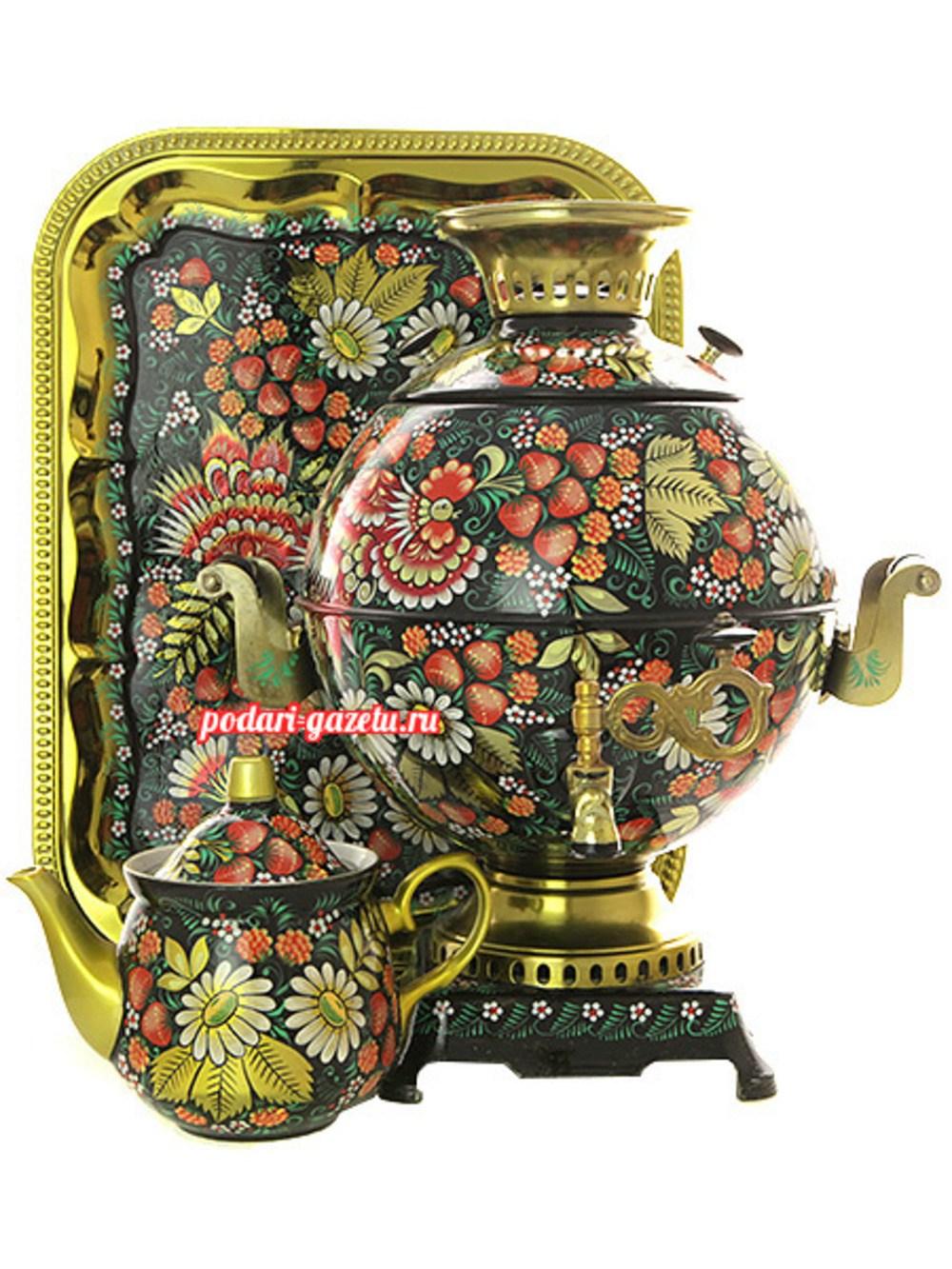 Набор: электрический самовар на 5 литров шар с художественной росписью Петухи в клубнике