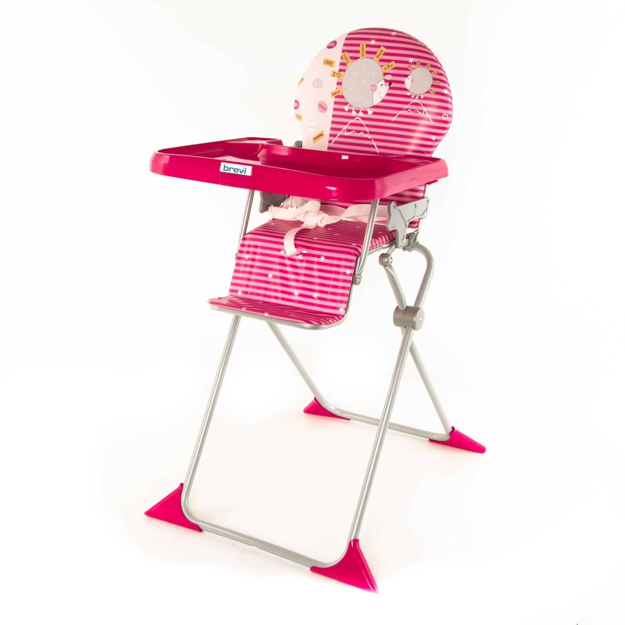 Стульчик для кормления Brevi Junior, цвет: розовый/с ёжиком
