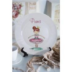 Декоративная тарелка с вашим текстом Балерина