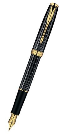 Ручка перьевая Parker Sonnet, черная, с полосами
