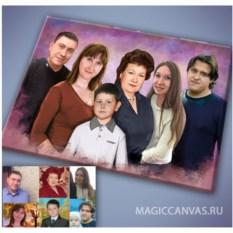 Семейный портрет Под масло из разных фото