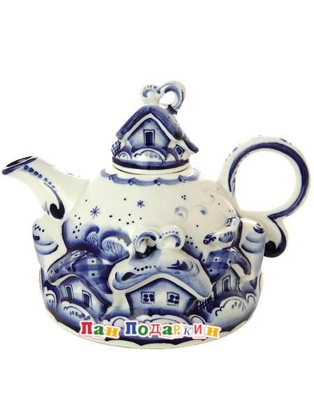 Малый заварочный чайник с росписью Гжель Деревенька