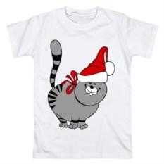 Мужская футболка Кот в шапке