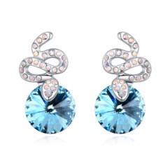 Серьги с голубыми кристаллами Сваровски Змейки