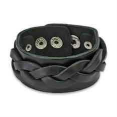 Кожаный черный браслет на кнопке Spikes