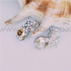 Серьги с кристаллами Сваровски цвета шампань «Звездочки»