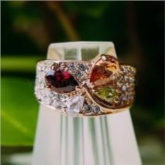 Кольцо с разноцветными циркониями Лолита
