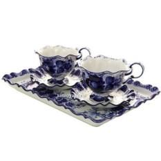 Чайный набор с художественной росписью гжель Для двоих