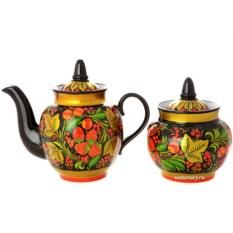 Чайный сервиз на 6 персон с росписью Хохлома