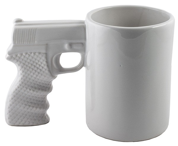 Белая керамическая кружка Пистолет тт