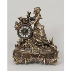 Часы-фигура из бронзы Дама с розами