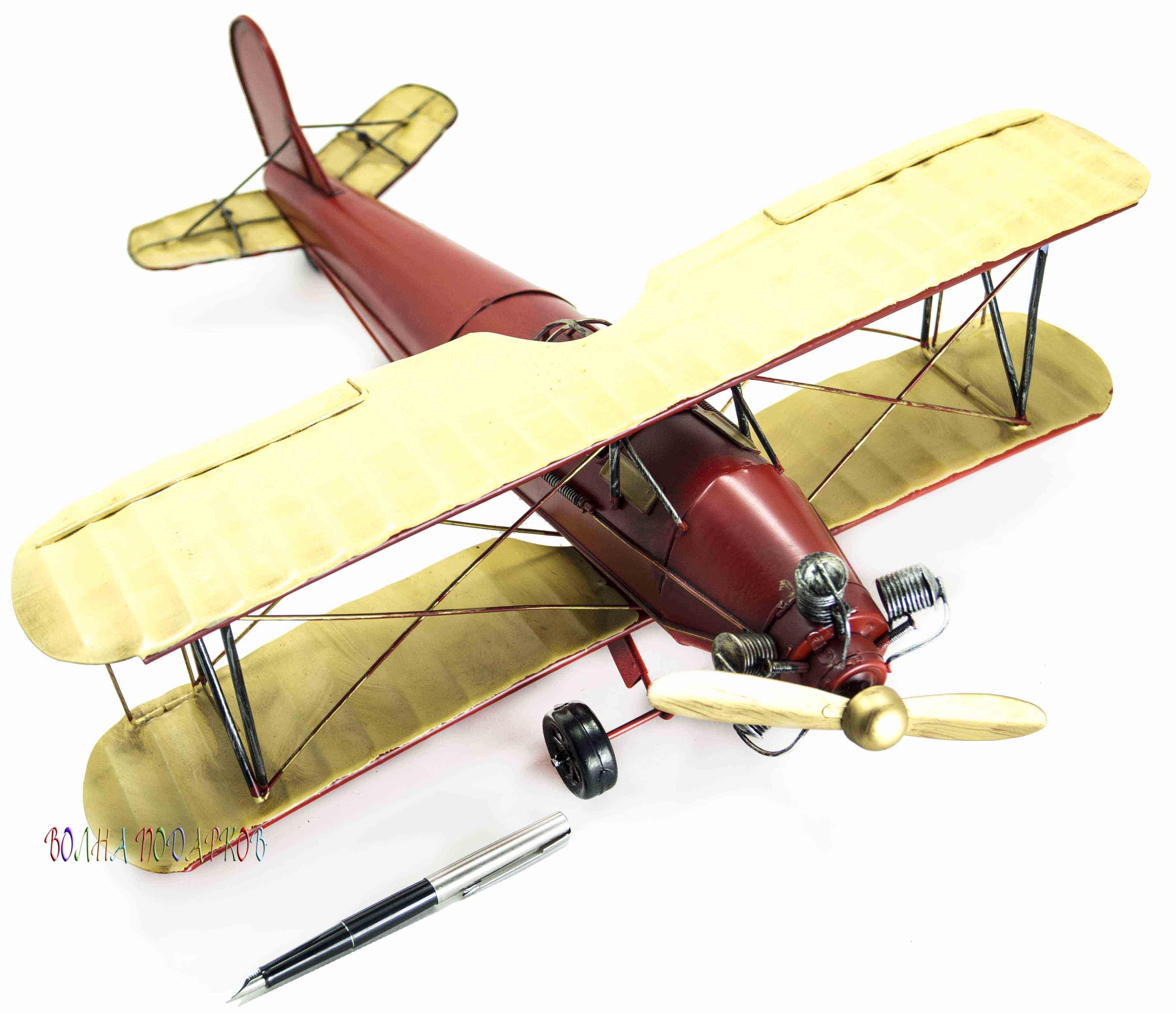 Ретро модель самолета (увет: красный с бежевым)
