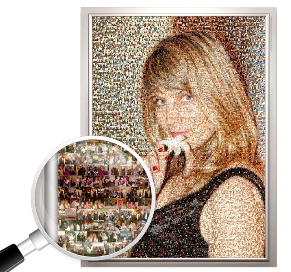 Фотомозаика из ваших фото в подарок женщине, 100х150 см