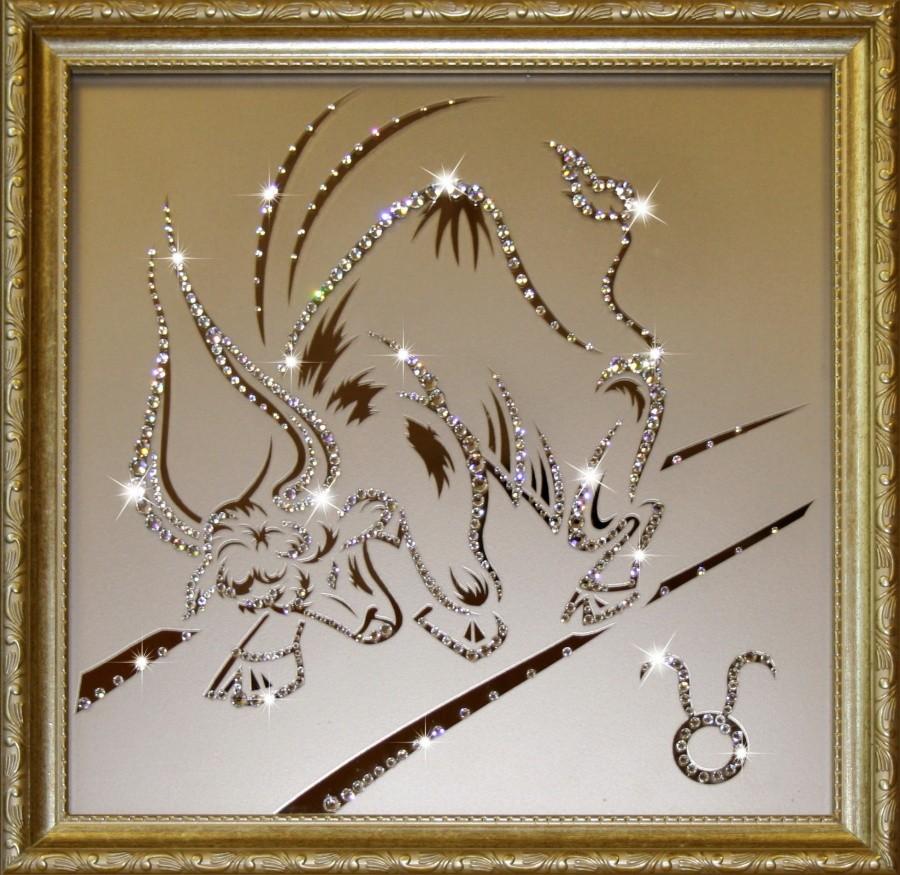 Картина с кристаллами Сваровски Телец