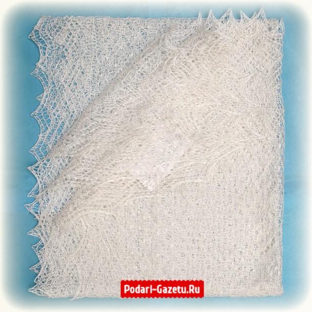 Белый Оренбургский пуховый платок ручной работы