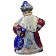 Игрушка из дерева Дед Мороз с синим мешком