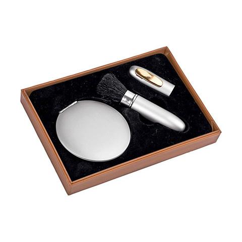 Серебристый косметический набор: зеркало, кисточка